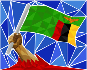 Arm Raising The National Flag Of Zambia