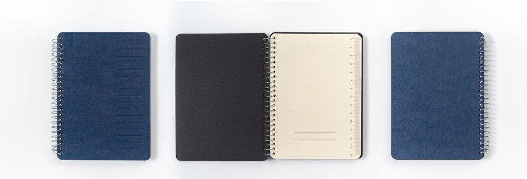 Dark blank blue notebook closed in closeup