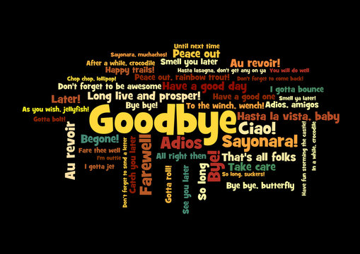 Goodbye Word Tag Cloud how say farewell