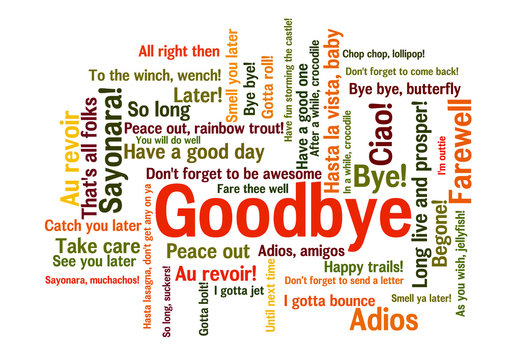Goodbye Word Tag Cloud, how to say farewell