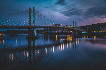 Blue hour at Tilikum Crossing Bridge in Portland Oregon