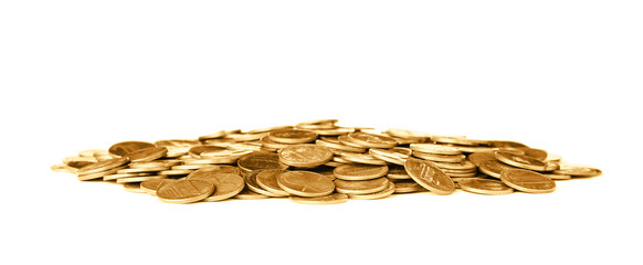 Pile of shiny coins on white background