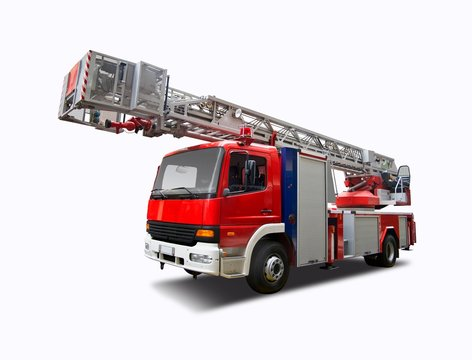 Fire truck crane isolated on white