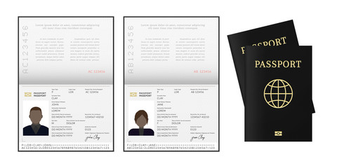 African or Afro-American passport. Citizen id template.