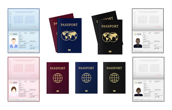 Biometric passport of citizen. African, American, Afro-American European and other nationalities ID.