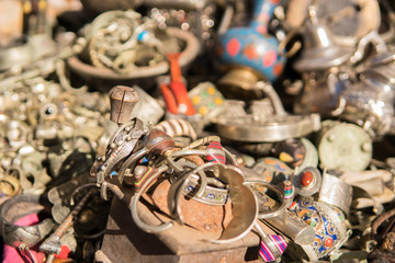 Pile of Old Traditional Moroccan bijouterie ob a Souvenires market close up
