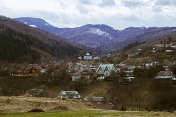 Spring  landscape in ancient hutsul village Holovy, near Carpathian mountains