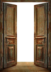 Old vintage opened doors with white background