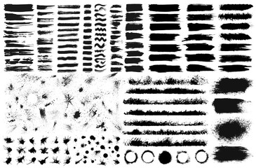 Large set of hand drawn grunge elements isolated on white background. Black ink borders, brush strokes, stains, banners, blots, splatters, spray. Vector illustration