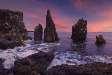 Dramatic Reykjanesta cliffs in Reykjanes peninsula on the south coast of Iceland