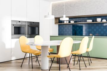 Modern disign kitchen interior with window. 3d Render.