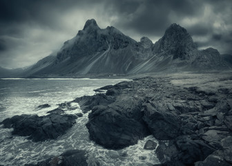 Famous Eystrahorn mountain on the south coast of Iceland