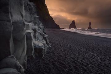 Famous Reynisfjara black beach on the south coast of Iceland