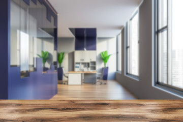 Blue and gray open space office interior, blurred