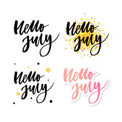 Hello july lettering print. Summer minimalistic illustration. Isolated calligraphy on white background. Orange rays behind text.