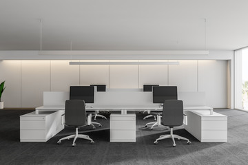 Modern white empty office interior with work space computers and furniture. 3D render