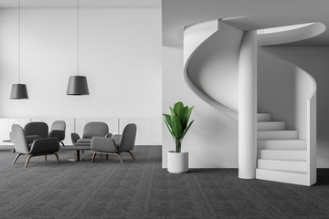 Office lounge area with armchairs and stairs Wall mural