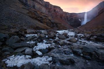 Huge Hengifoss waterfall in eastern Iceland