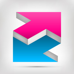 Double arrow. Unreal object. Color Pointer in two directions. Vector design element for you project