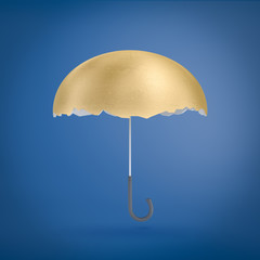 3d rendering of an umbrella with a golden egg shell instead of the upper part.