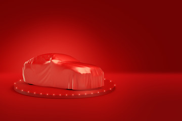 3d rendering of automobile hidden under red satin cover, standing on top of dias, on red background.