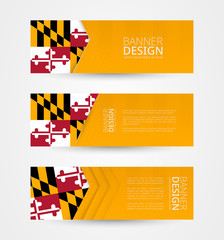 Set of three horizontal banners with US state flag of Maryland. Web banner design template in color of Maryland flag.