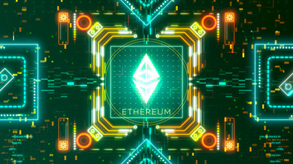 Ethereum cryptocurrency sign on the digital background. Financial theme