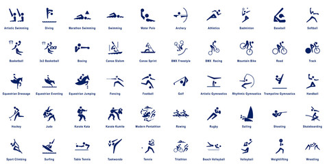 Sports pictograms, collection of 50 sport vector pictograms