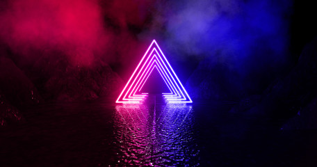 Wet asphalt, neon light reflected on a wet surface, arch, light triangle, pyramid abstract light,...