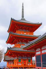 View of the Kiyomizu temple (Otowa-san Kiyomizu-dera), a temple complex on the UNESCO World Heritage List in Kyoto, Japan