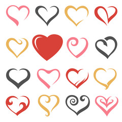 icons collection of hearts isolated on white background
