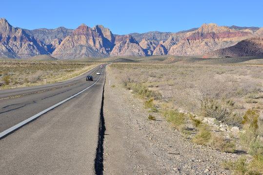 A road going through the Mojave desert, USA