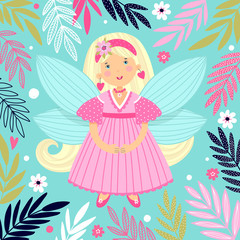 Illustration with a girl. Fairy in cartoon style