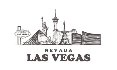 Fotomurales - Las Vegas sketch skyline. Nevada, Las Vegas hand drawn vector illustration.