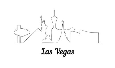 Fotomurales - One line style Las Vegas skyline. Simple modern minimaistic style vector.