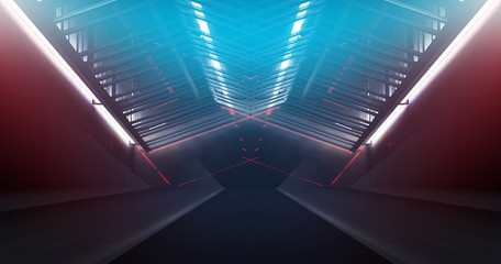Papiers peints Tunnel tunnel, corridor. White neon lamps in bright, empty space, Led neon, dark blue abstract background with metal structures. 3D Rendering