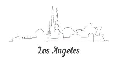 One line style Los Angeles skyline. Simple modern minimaistic style vector.