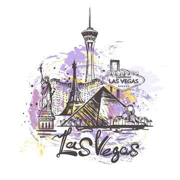 Las Vegas abstract color drawing. Las Vegas sketch vector illustration