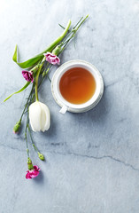 A cup of tea, dianthus flowers and white tulip on gray stone background. Flat lay. Copy space