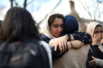 Nayab Khan, 22, cries at a vigil to mourn for the victims of the Christchurch mosque attacks in New Zealand, at the University of Pennsylvania