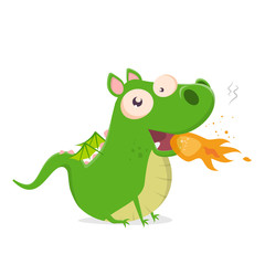 funny vector illustration of a green cartoon dragon spitting fire
