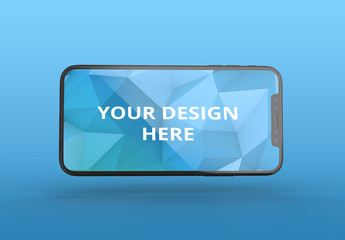 Horizontal Black Smartphone Mockup with Editable Background