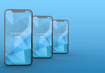 3 Vertical Black Smartphones Mockup with Editable Background