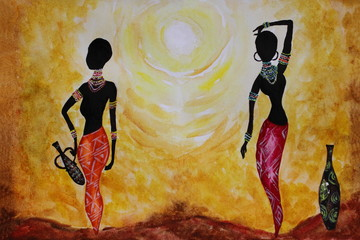 Watercolor picture African girls with a jug