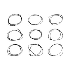 Vector set hand drawn sketch line circular doodles.