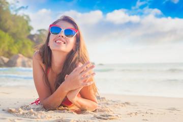 long haired girl in bikini on tropical beach, Mahe, Seychelles