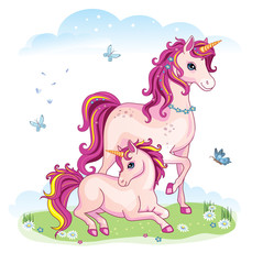 Horse with foal on a green meadow. Wonderland. Vector cartoon illustration. Children's theme.