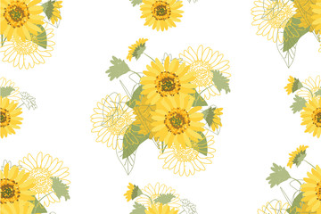 Yellow Sunflowers. Illustration of decorative floral design for wedding invitations and greeting cards.