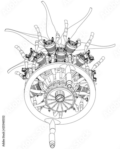 Radial engine on a white