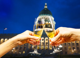 Capitol building Utah with glasses of champagne